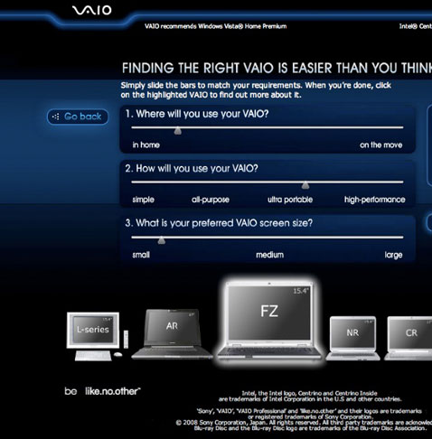 Sony Vaio Laptop Selector